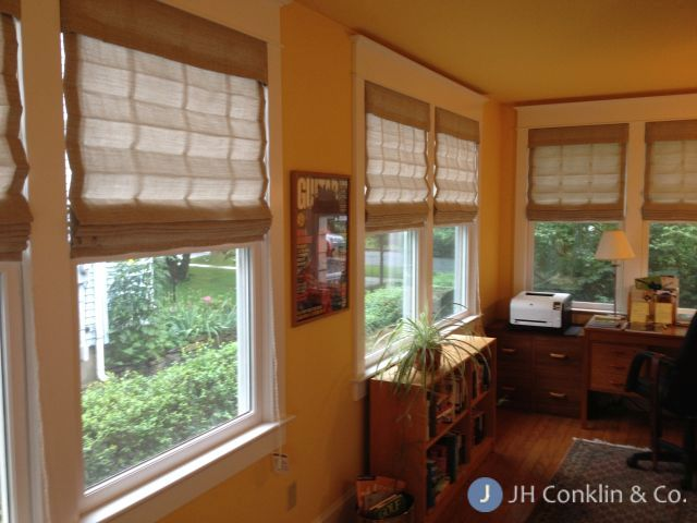 Sheer Flat Roman Shades.  New Jersey sun room.