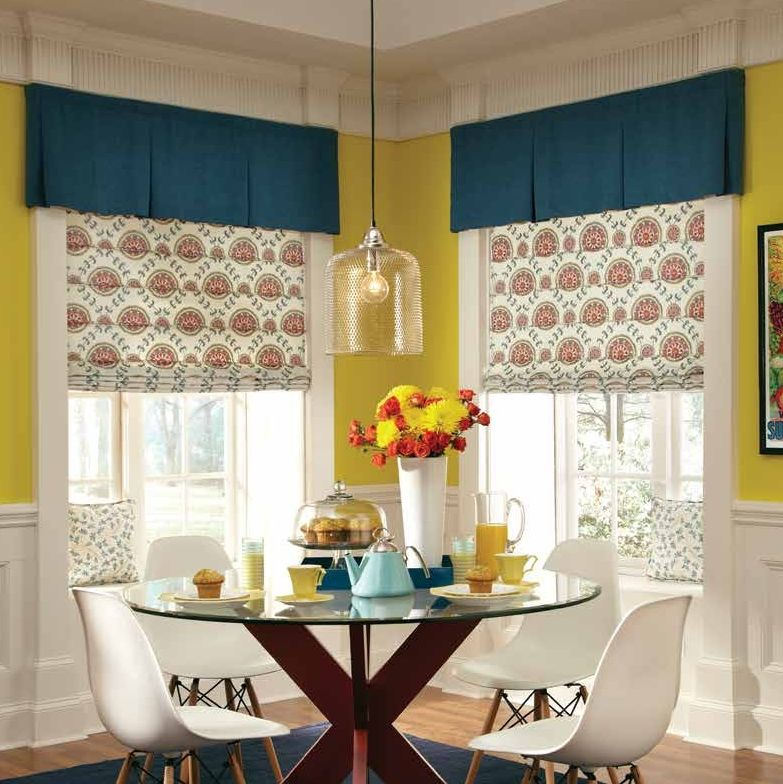 Front fold Roman shades with valance