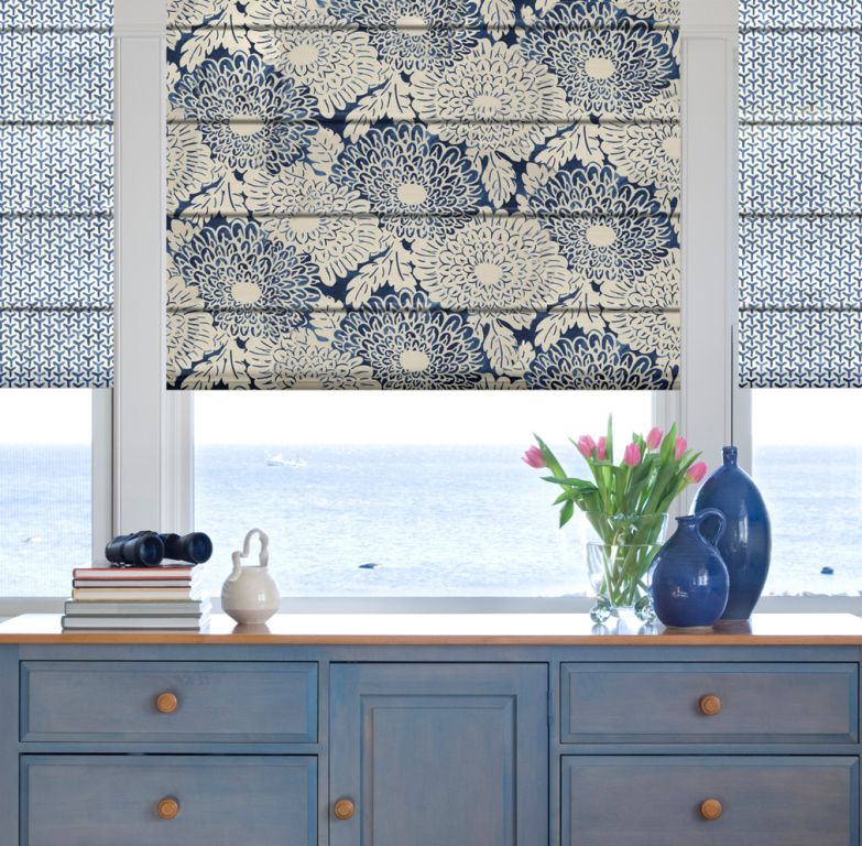 Front fold Roman shades with patterned fabric