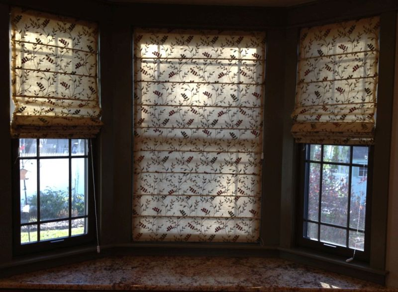 Flat Front Roman shades kitchen window