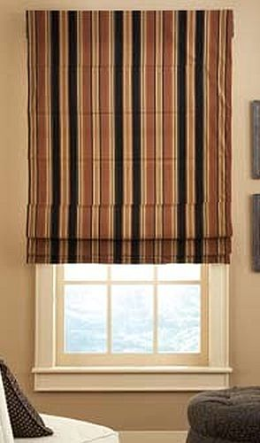 Reverse fold Roman shade outside mount
