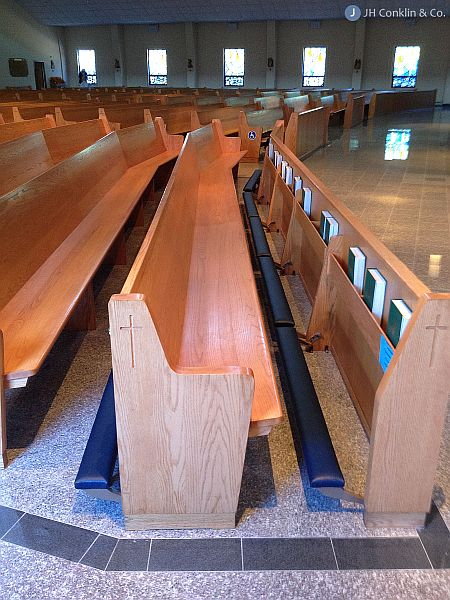 Kneeling pads reupholstered in New Jersey church.