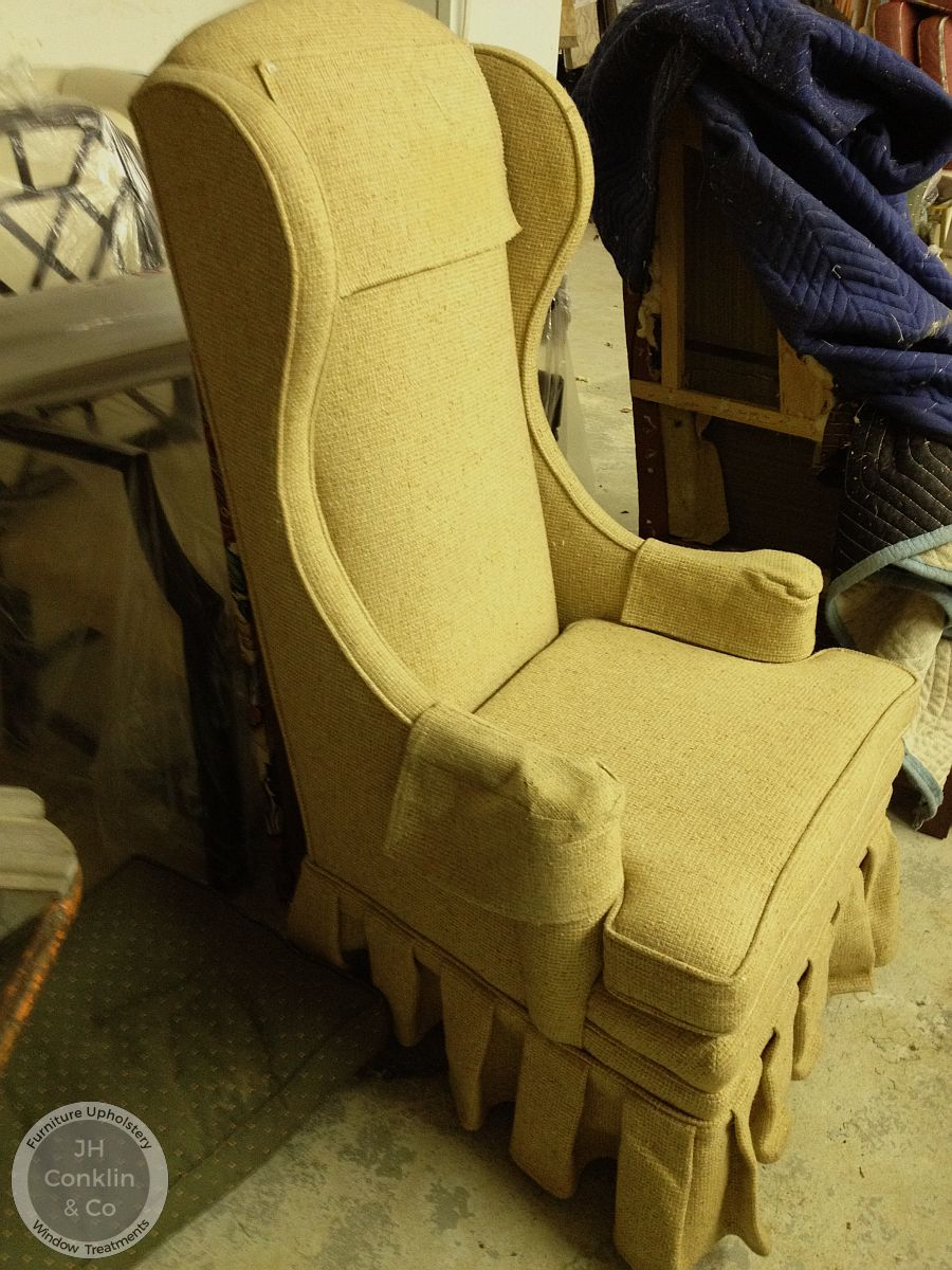 Moorestown NJ wing chair before reupholstery
