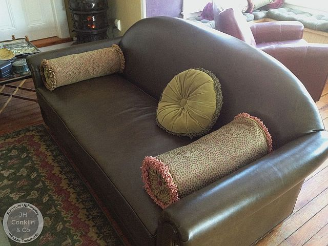 Sofa reupholstered with leather in Beverly, NJ