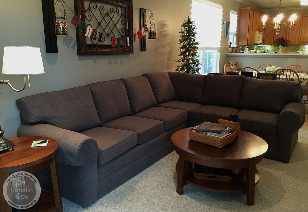 Sectional sofa in Egg Harbor NJ after being reupholstered.