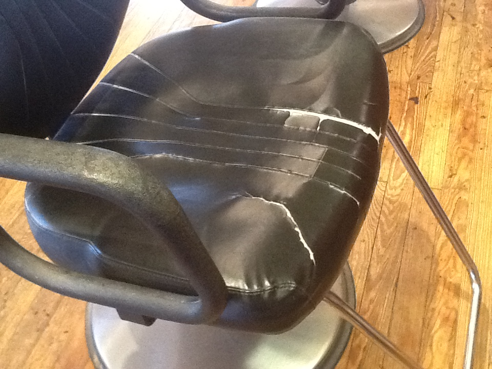 Get worn salon chairs re-upholstered or recovered.