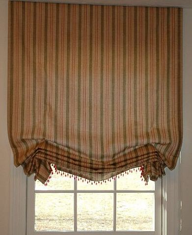 Custom slouch roman shade with bead trim in New Jersey