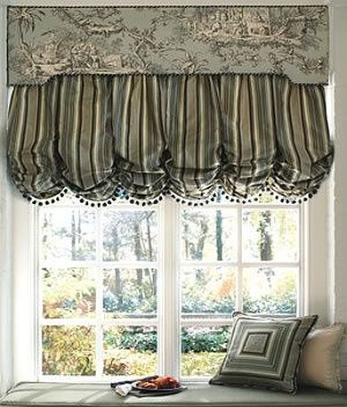 balloon shade with fringe and cornice nj