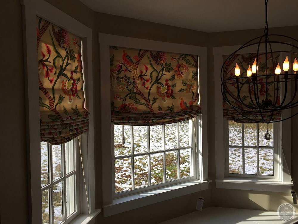 Relaxed Roman shades in a Marlton NJ kitchen
