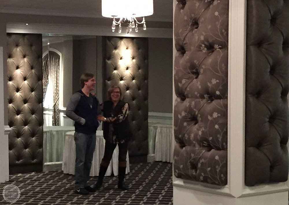 Custom tufted wall panels in a New Jersey restaurant banquet room
