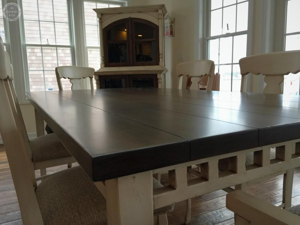 table and chairs refinished and reupholstered in Harvey Cedars NJ