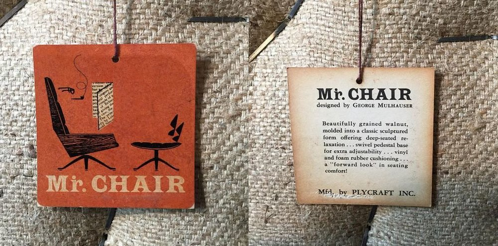 mulhauser plycraft mid-century mr chair tag