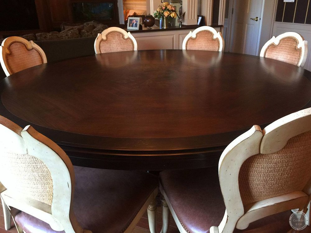 Large round dining table refinished Moorestown NJ