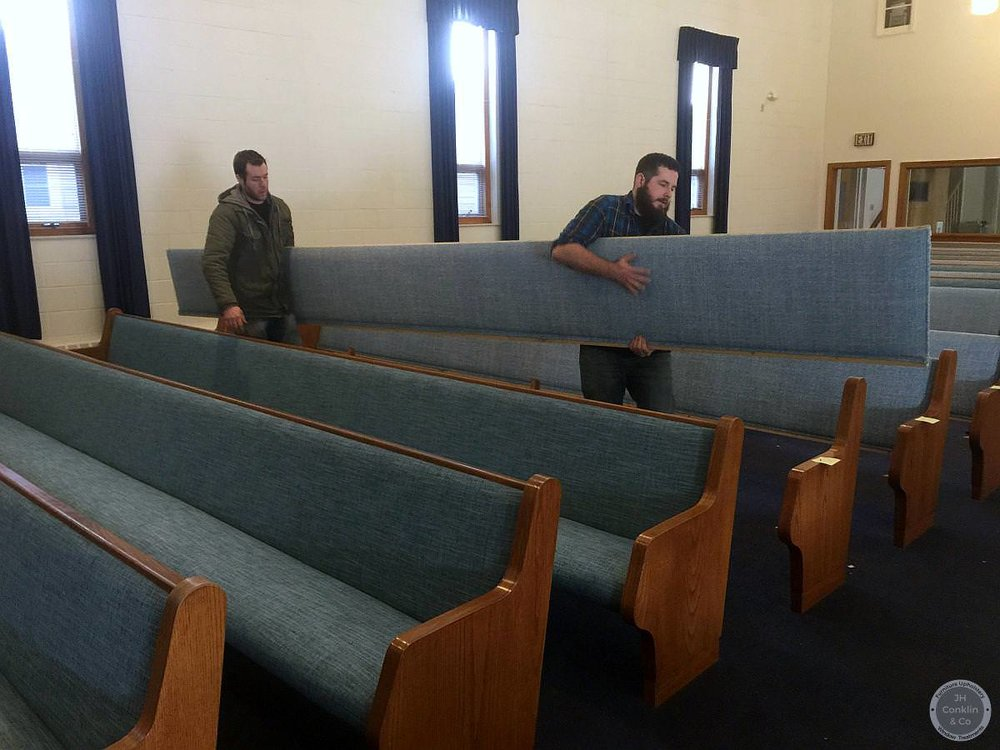 removing church pews for upholstery