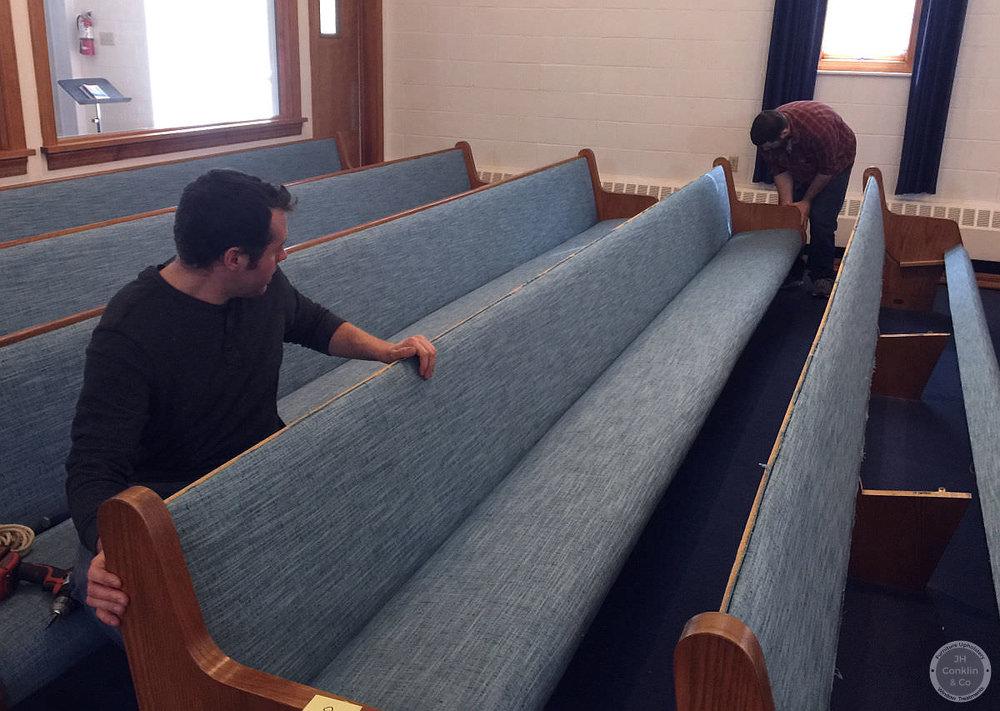 installing reupholstered church pew cushions nj