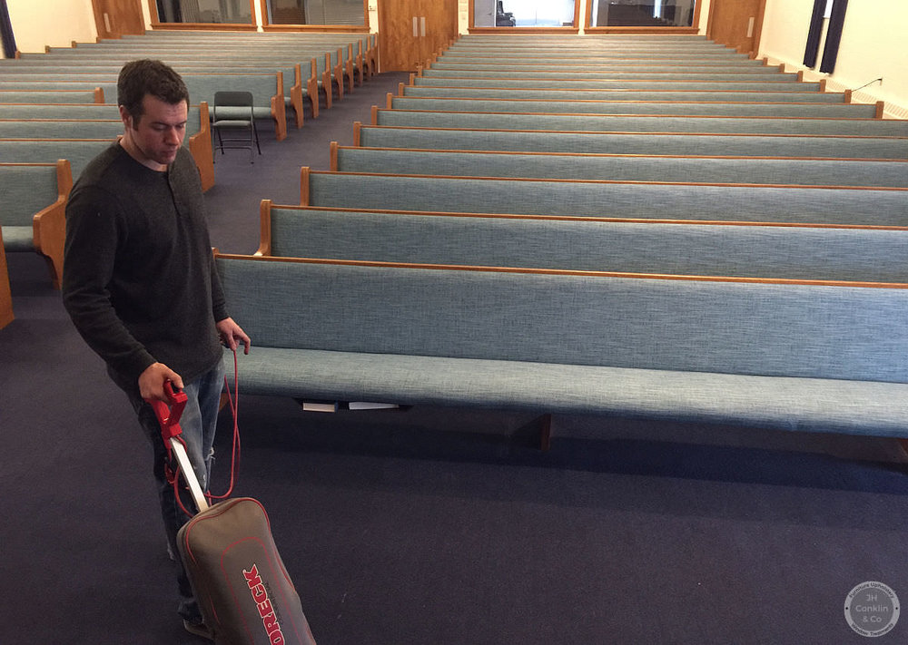 cleaning up after installing church cushions