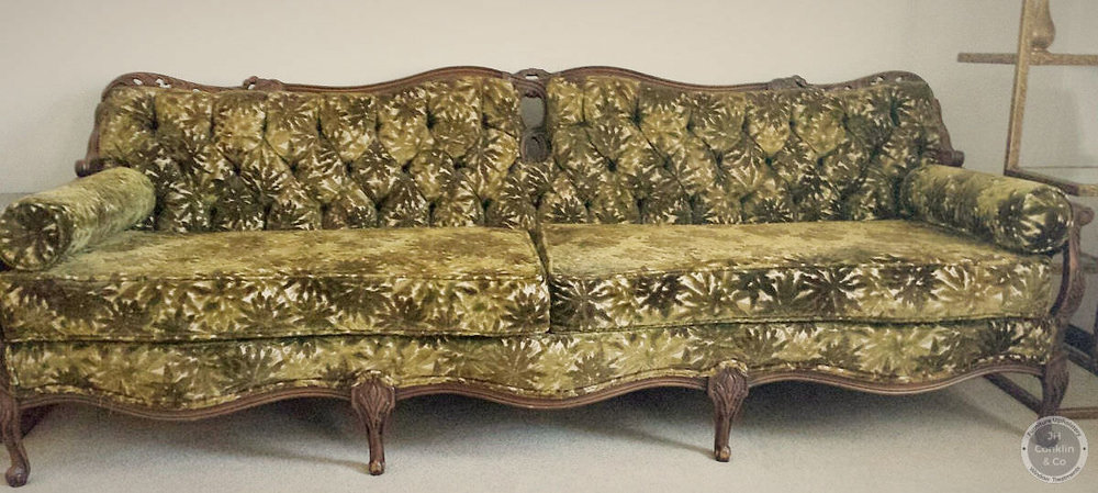 1970s sofa before makeover