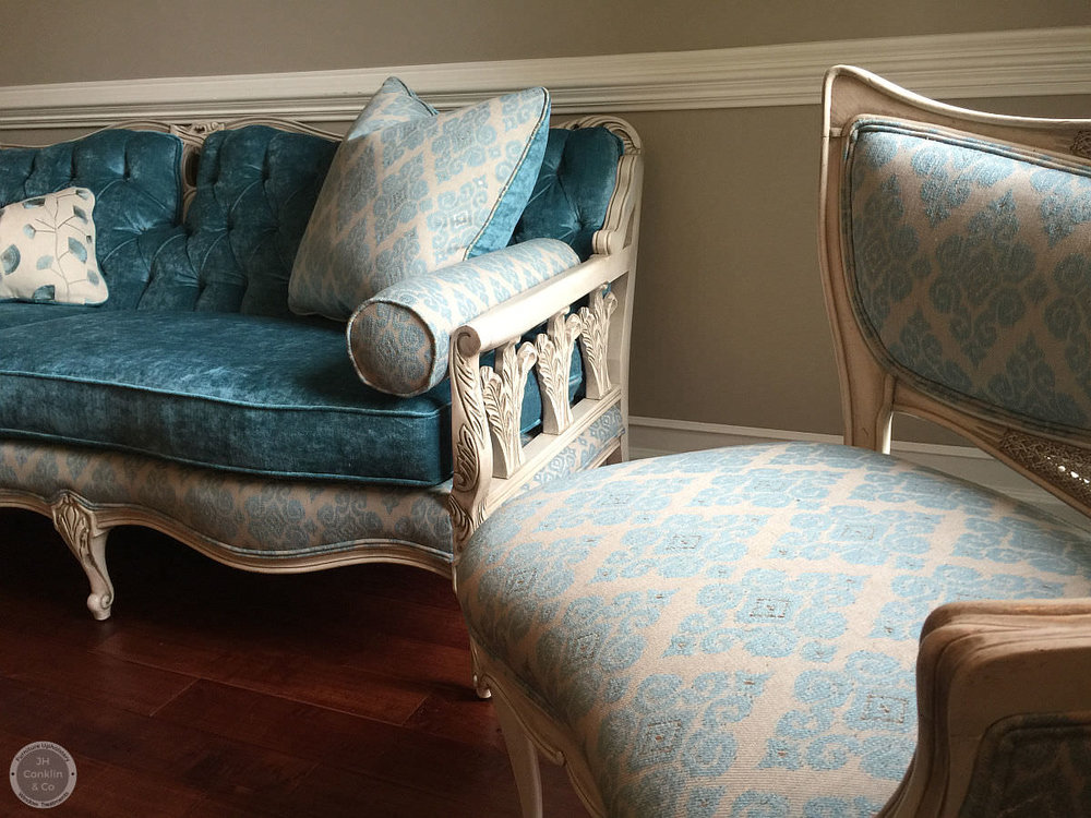 Old chairs and sofa updated in Morrestown NJ