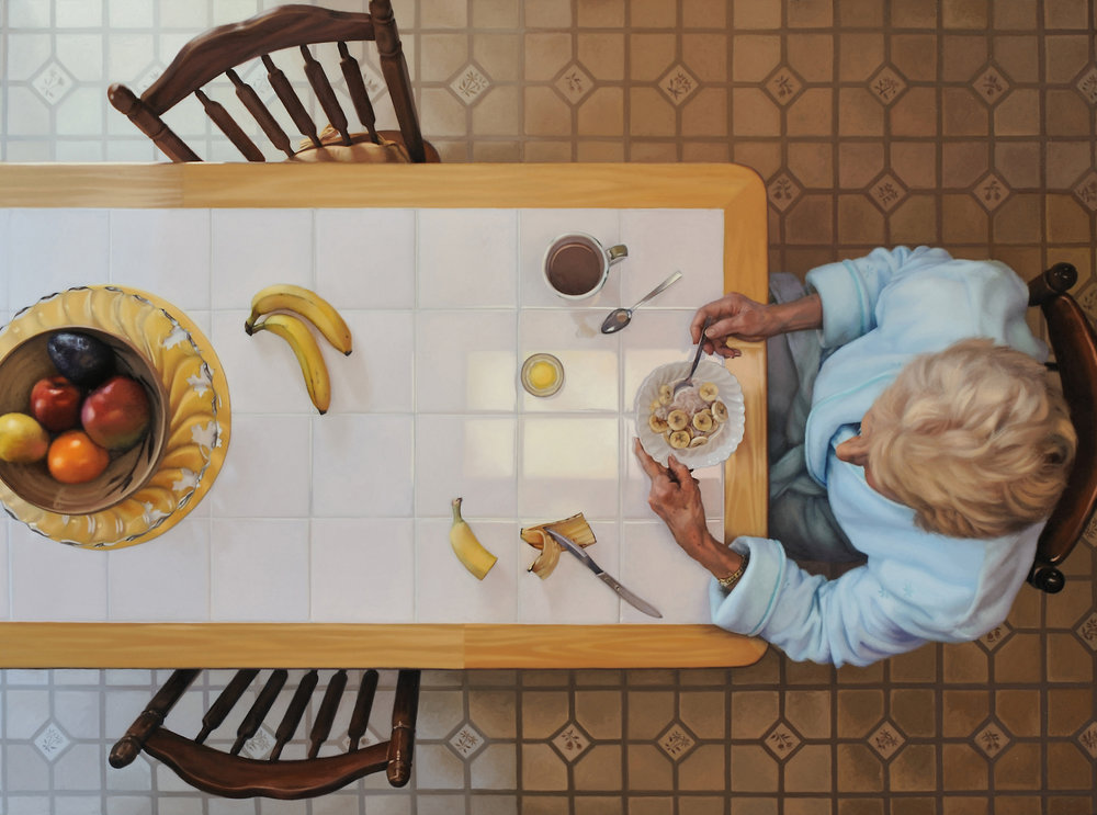 "Emilie (Breakfast)  , 2009  Oil on Linen  40"" x 64"""