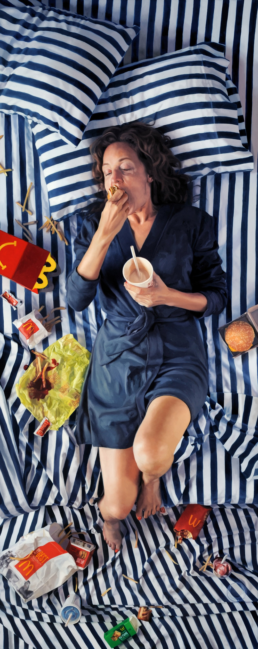 "Happy Meal  , 2010  Oil on Linen  78"" x 31"""