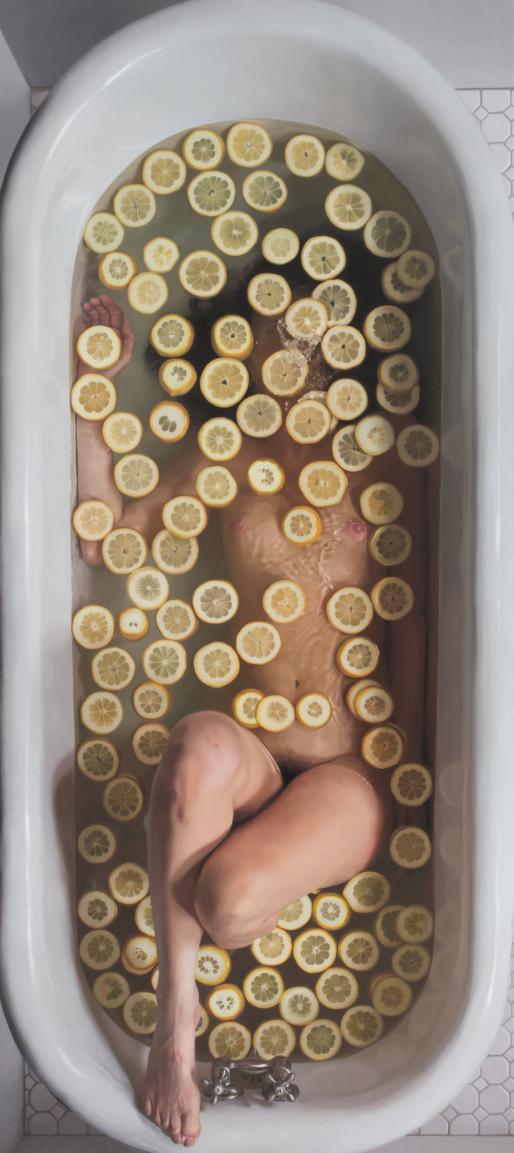 "Lemon Slices II  , 2012  Oil on Linen  34"" x 76"""