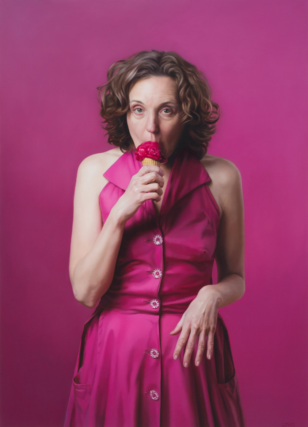 "Self-Portrait with Raspberry Sorbet  , 2015  Oil on Linen  39"" x 28"""