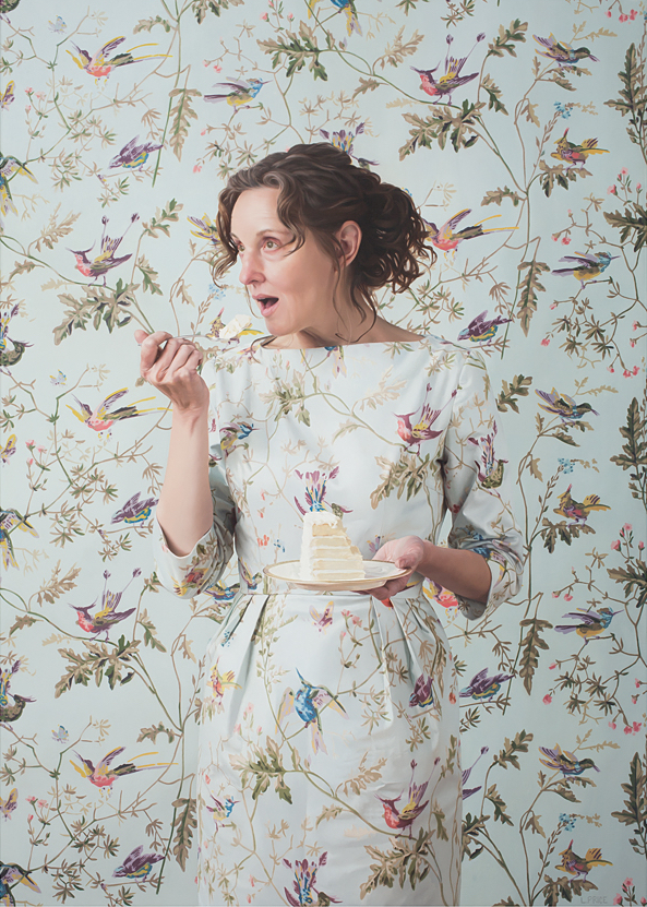 """Self-Portrait Eating Cake  , 2018  Oil on Linen  45"""" x 32"""""""