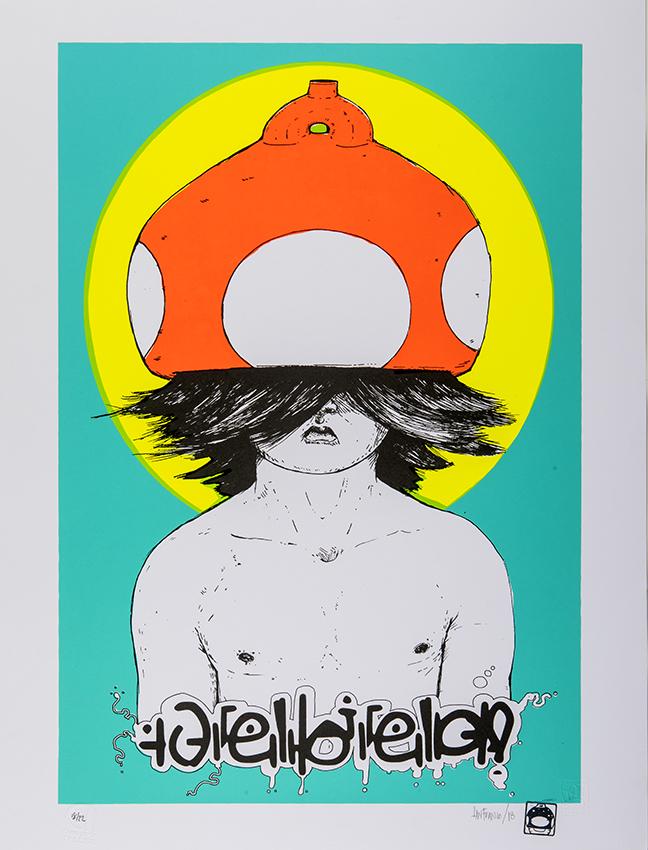 Mr. Mushroom, serigrafia en papel artistico, edicion limitada, Taller Cono Norte. 65x50cms.