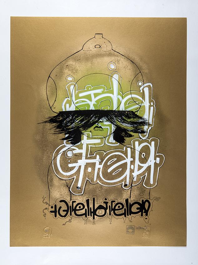 Mr. Mushroom, Serigrafia en papel artistico, prueba de artista, Taller Cono Norte. 65x50 cms