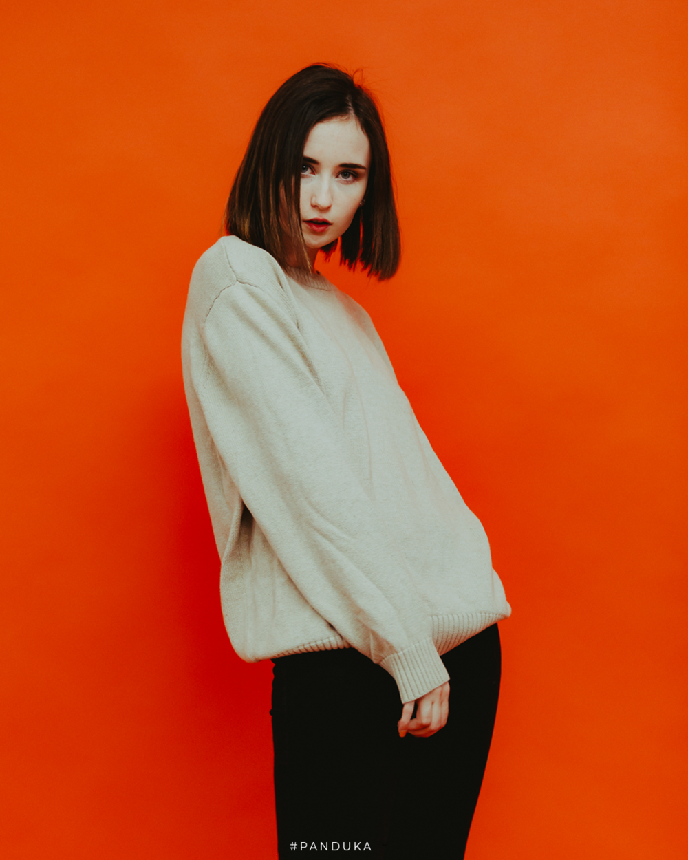 Model On Orange Background 1