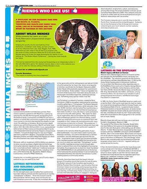 """Wilda Mendez - El Planeta Newspaper - Boston """"Friends who like us""""!"""