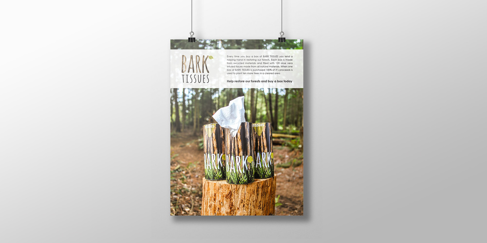 BARK TISSUES is a campaign that strives to educate individuals of our environment's condition. When one box of BARK TISSUES is purchased the proceeds are used to plant trees in deforested areas.2013 copyright Laurelle Armet