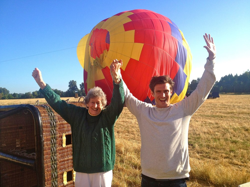 Dave helps grandma cross off 'Ride in a Hot Air Balloon.'