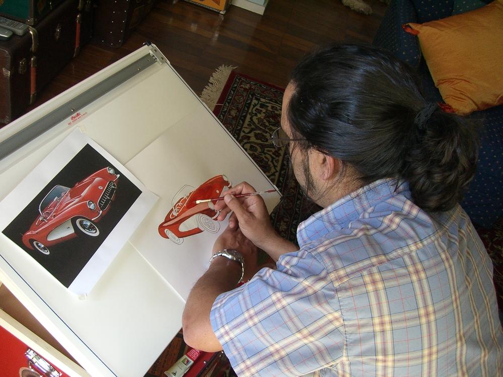 Carlos painting for GM Corvette .JPG