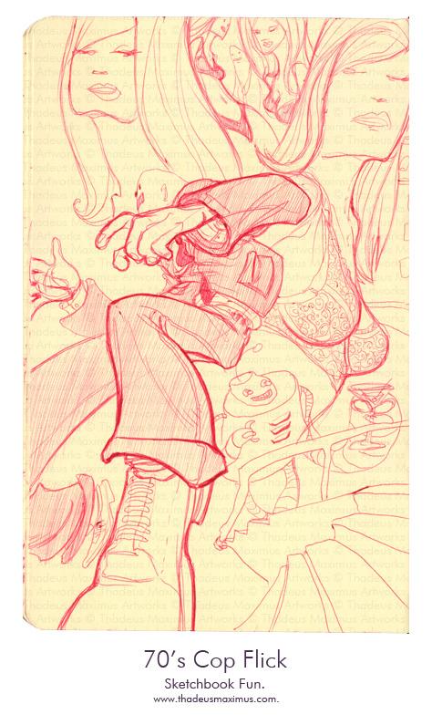 Thadeus Maximus Artworks - Sketch - 70s Cop Flick