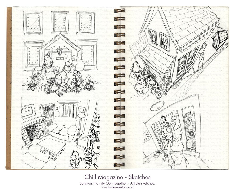 Thadeus Maximus Artworks - Sketch - Chill Magazine - Survivor: Family Get-Together
