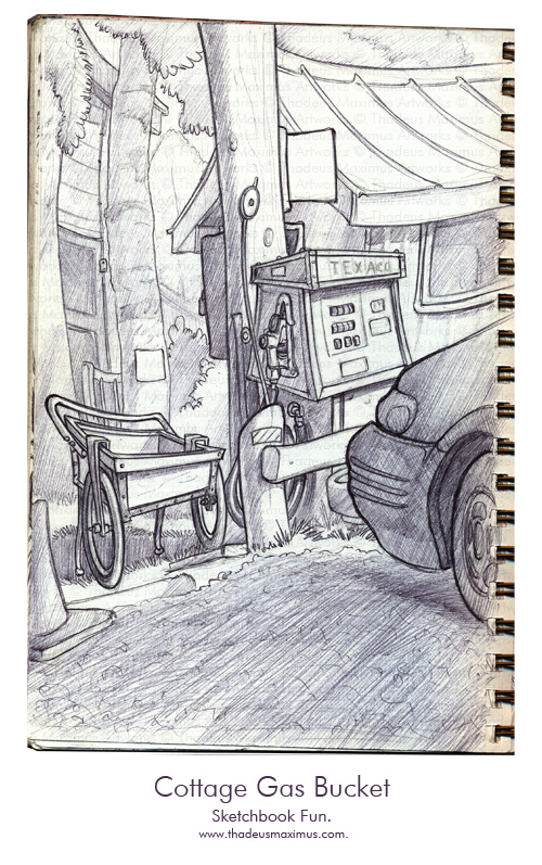 Thadeus Maximus Artworks - Sketch - Cottage Gas Bucket