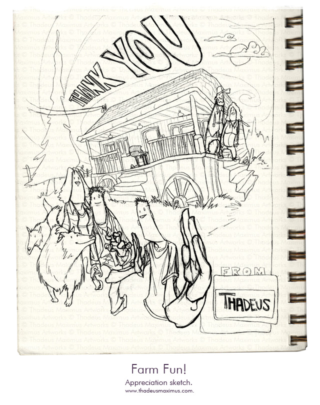 Thadeus Maximus Artworks - Sketch - Farm Fun!