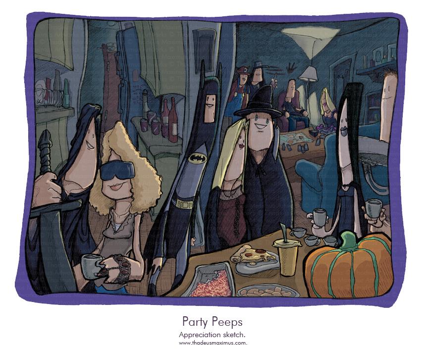 Thadeus Maximus Artworks - Sketch - Party Peeps