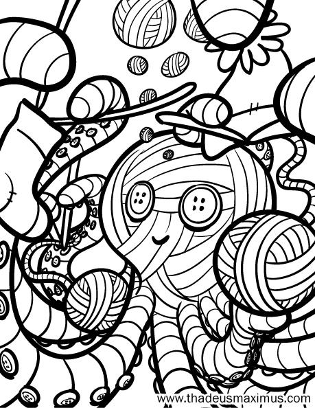 Yarn Crush Colouring Book - Octopus