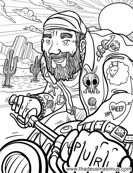 Yarn Crush Colouring Book - Motorbike Dude