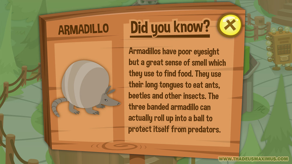 Great Zoo Escape 2: Map - Zoom Left - Armadillo Sign