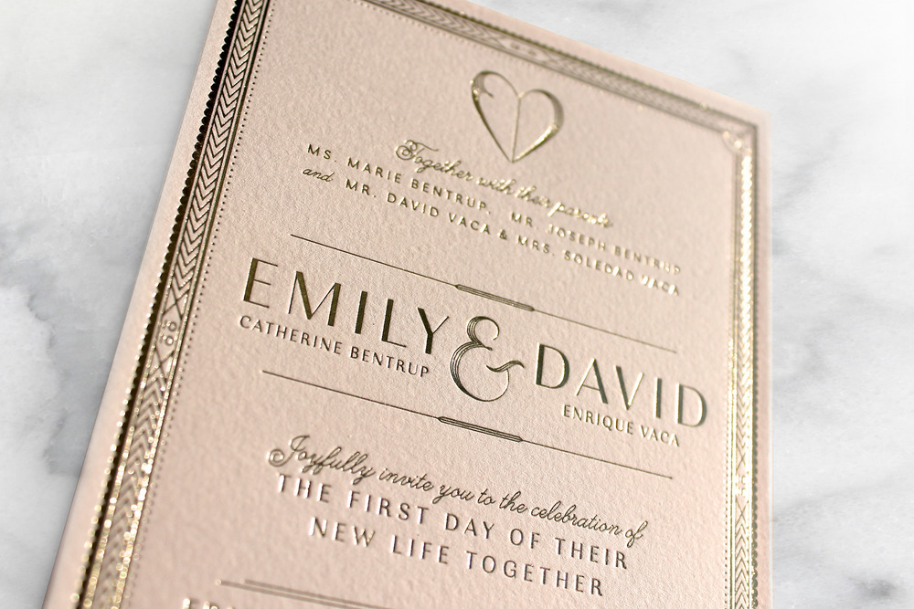 Blush And Gold Foil Wedding Invitations By Emily Vaca