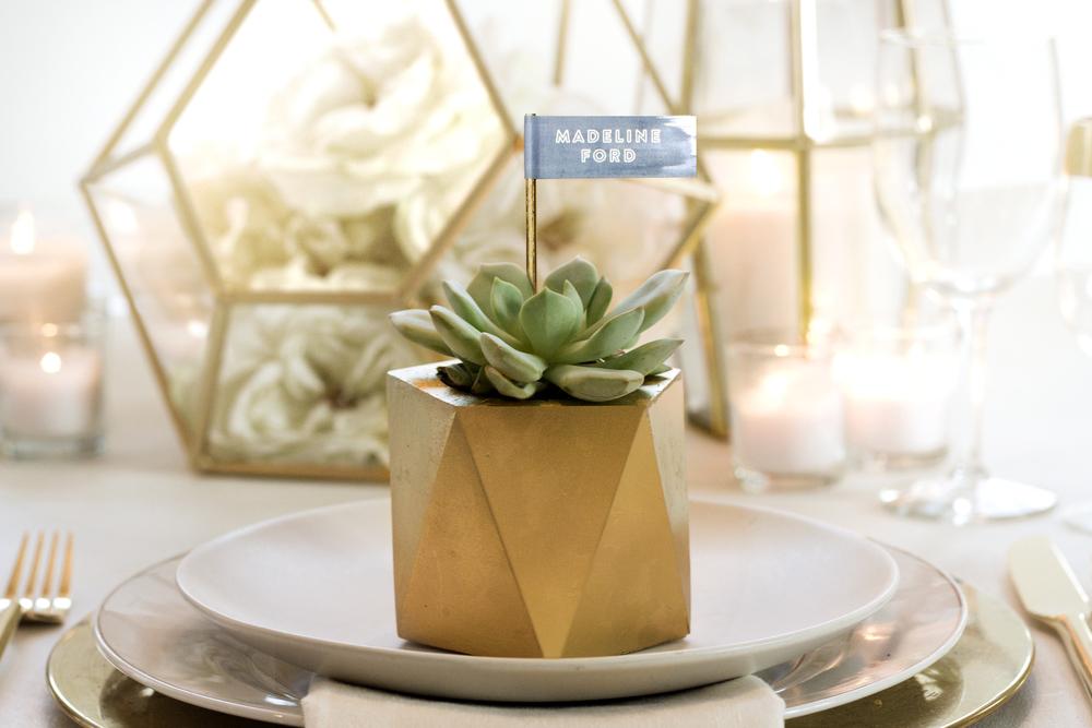 Gold Faceted Succulent Wedding Favors   Sugar & Gold