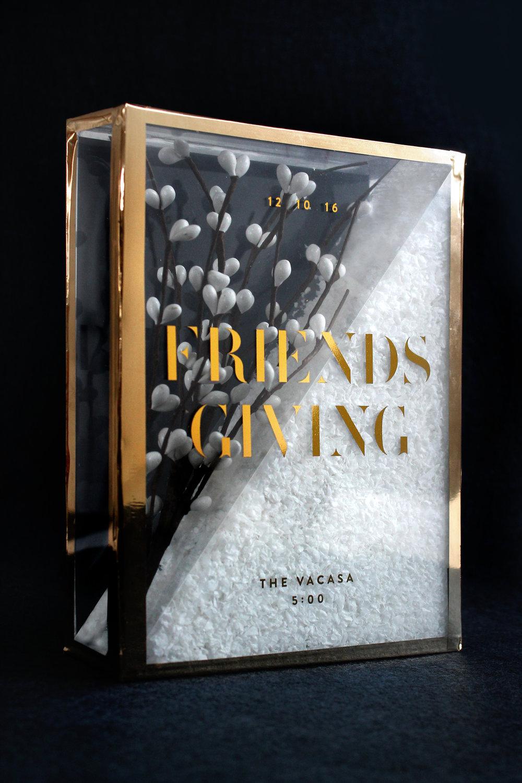 Sugar & Gold | DIY Gold Foil Terrarium Friendsgiving Invitation