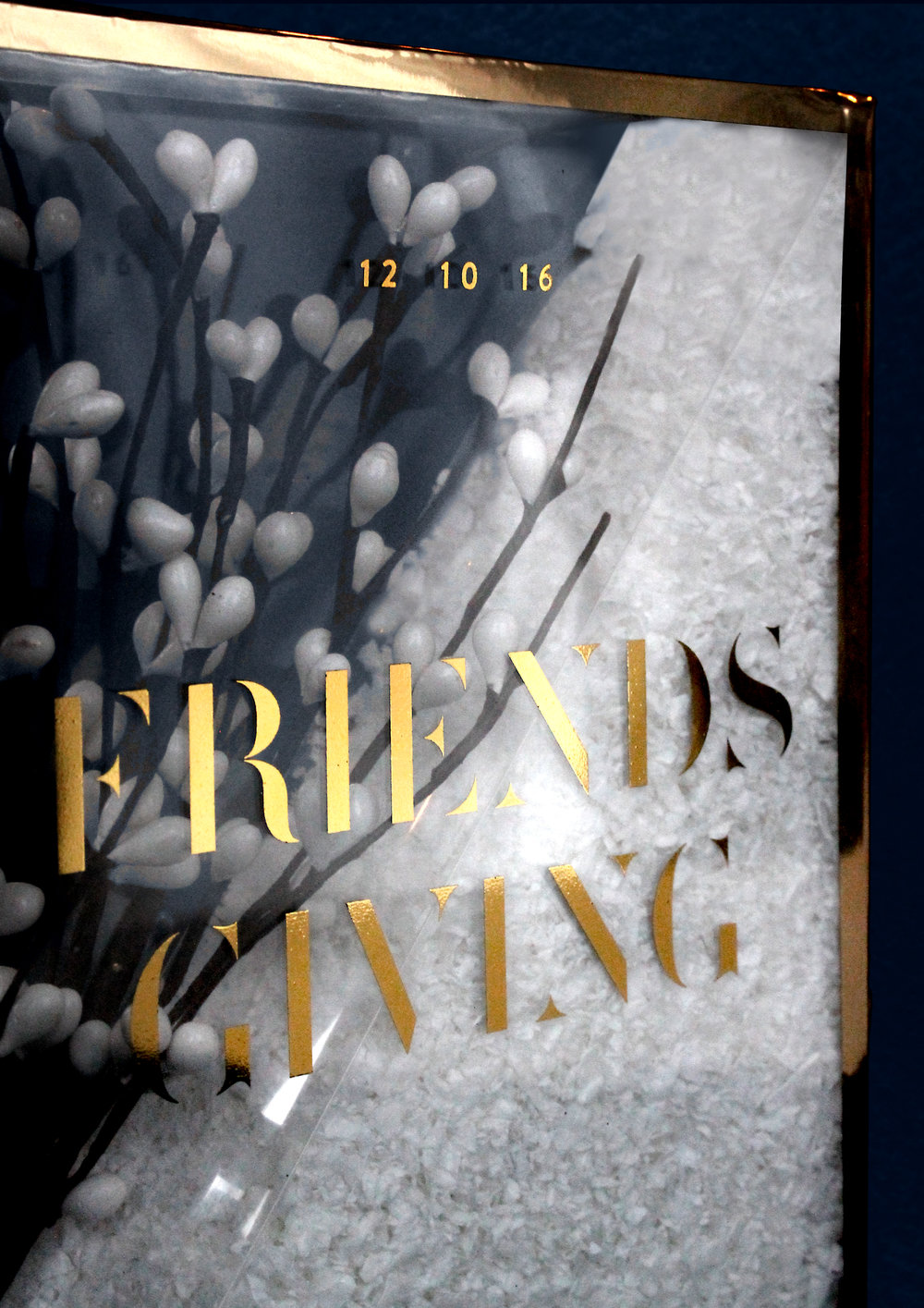 Sugar & Gold | DIY Gold Foil Terrarium Friendsgiving Invitation