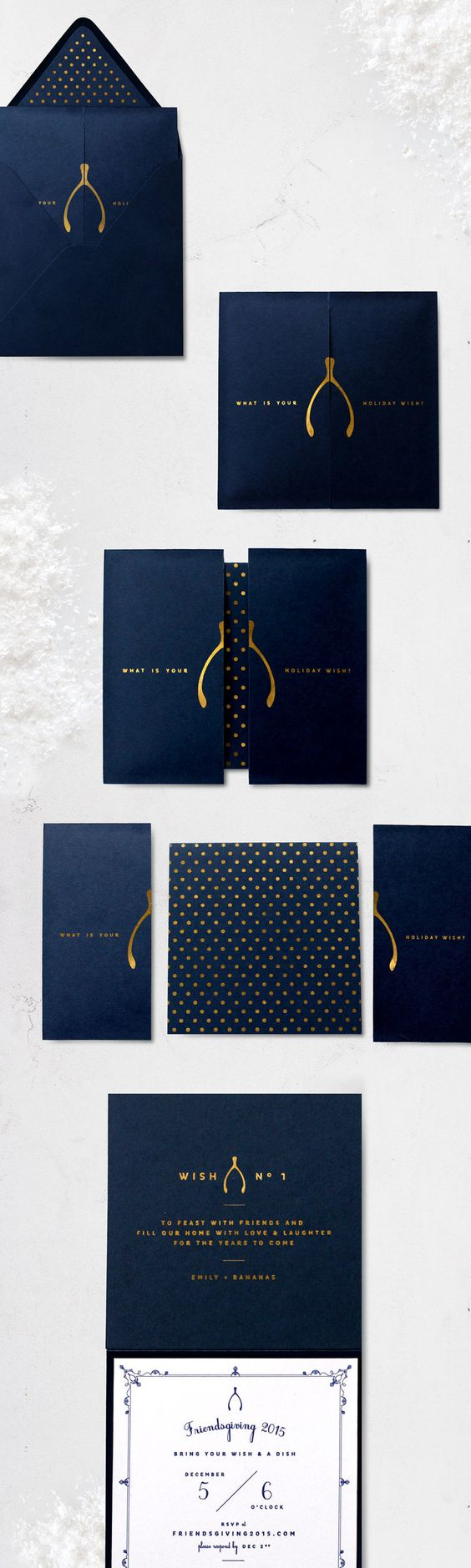 Sugar & Gold | Gold Foil Wishbone Friendsgiving Invite