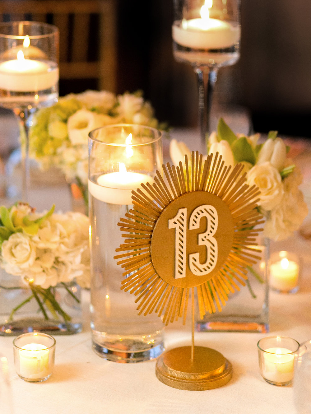 Sugar & Gold | Event Design | Gold Brushed Stationery & Art Deco Table Numbers