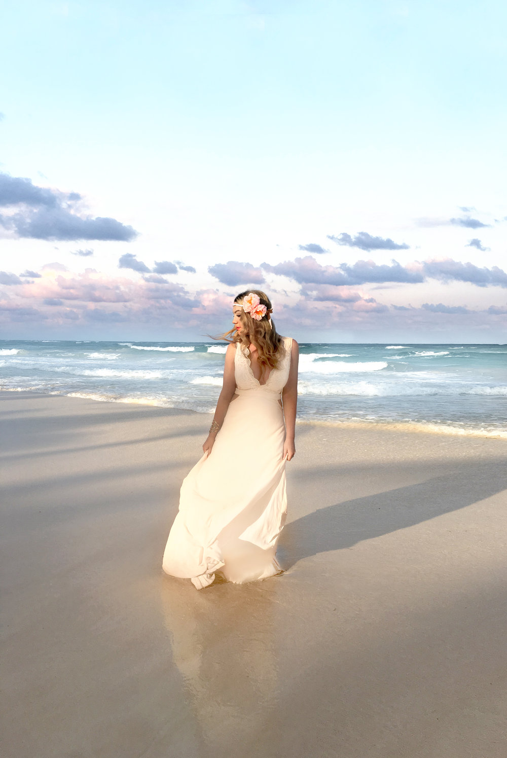 Sugar & Gold | Tulum, Mexico | Paper Floral Headband and Blush Chiffon Gown
