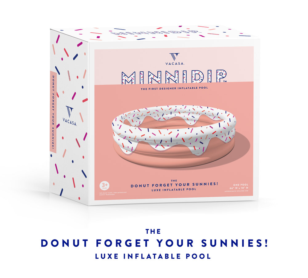 MINNIDIP | the DONUT FORGET YOUR SUNNIES! luxe inflatable pool by LA VACA | sprinkle donut pool